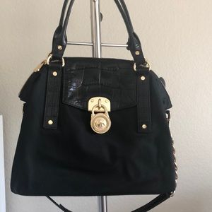 Michael Kors black leather and fabric purse